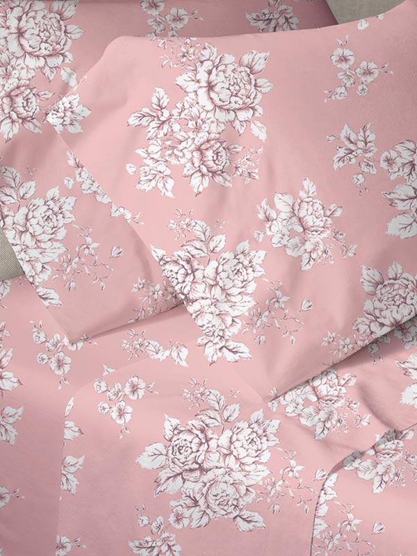 Σετ Σεντόνια Menta Εμπριμέ 960 Pink