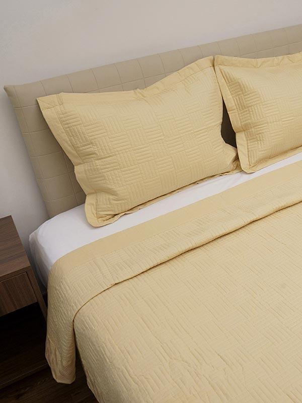 Κουβερλι Percale κεντητό Yellow