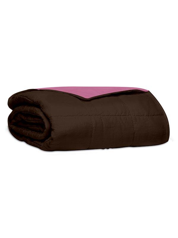Κουβερλί percale μονόχρωμο Brown / Pink