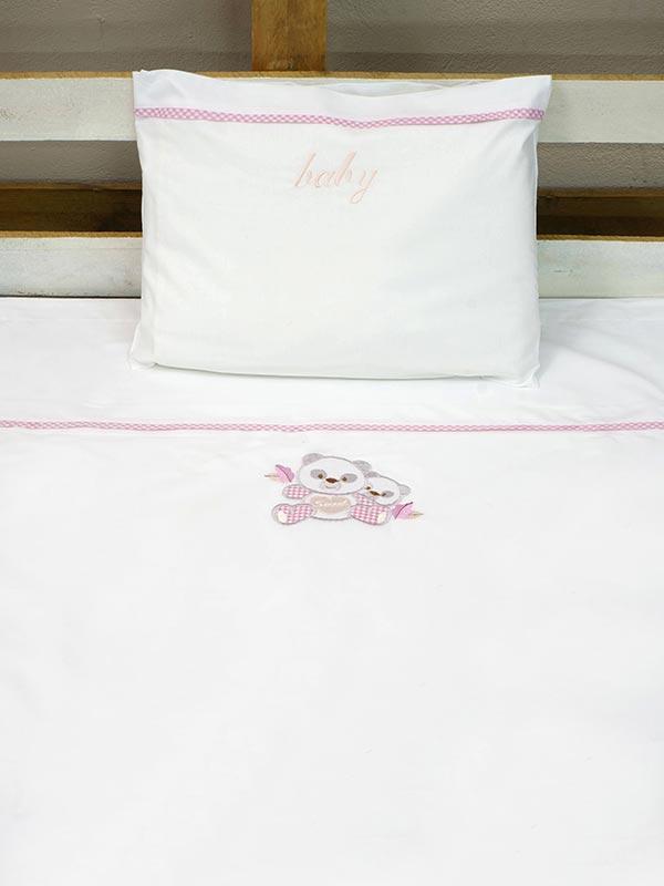 Σεντόνια κεντητά κούνιας Panda 02 Pink