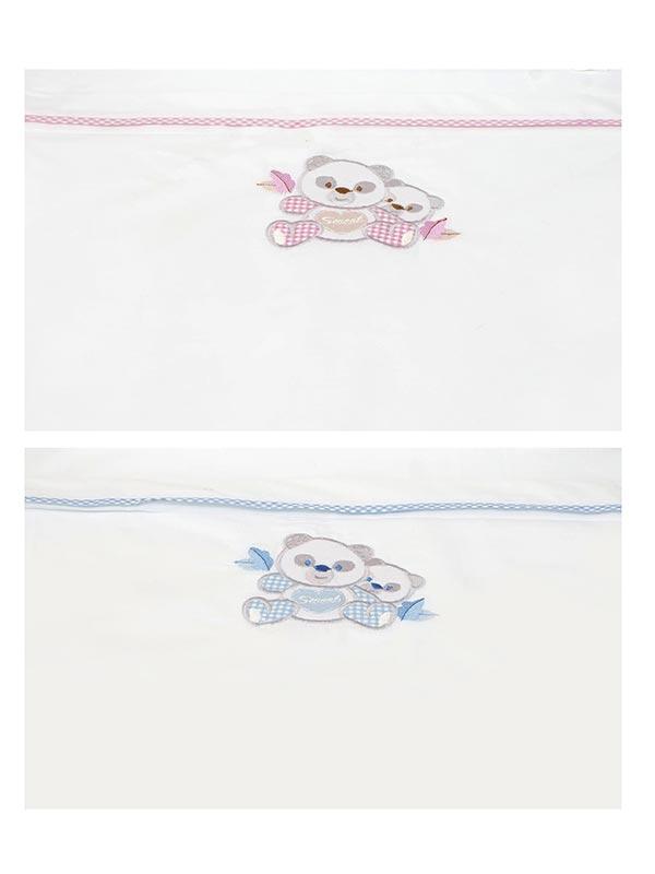 Σεντόνια κεντητά κούνιας Panda 02 Blue