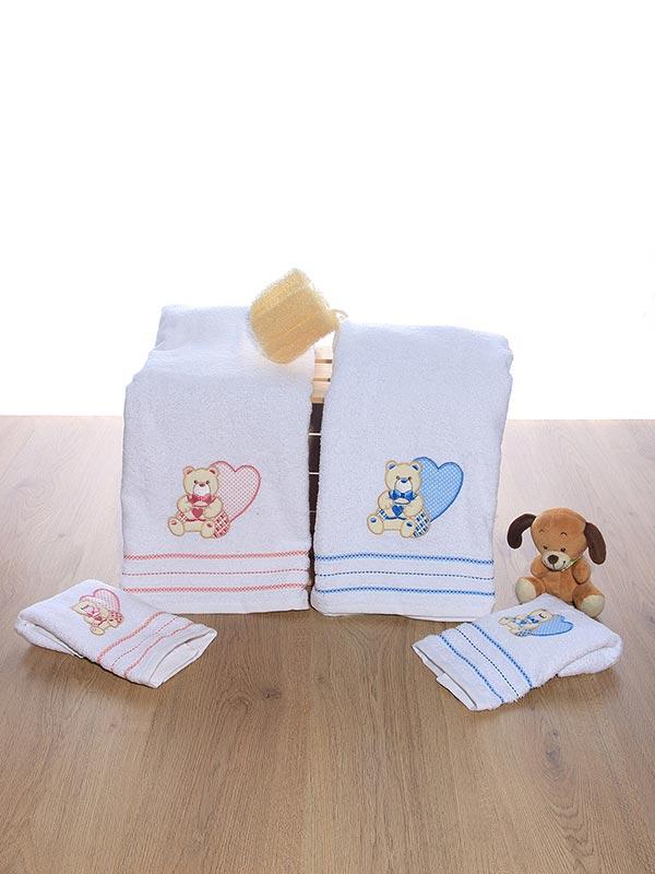 Σετ πετσέτες κεντητές Heart 01 Blue