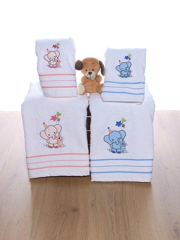Σετ πετσέτες κεντητές Elephant 03 Blue