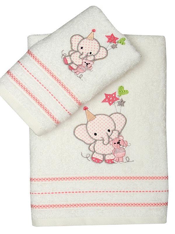 Σετ πετσέτες κεντητές Elephant 03 Pink