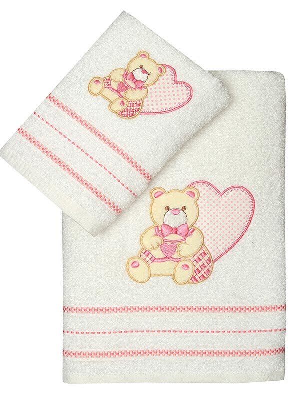 Σετ πετσέτες κεντητές Heart 01 Pink