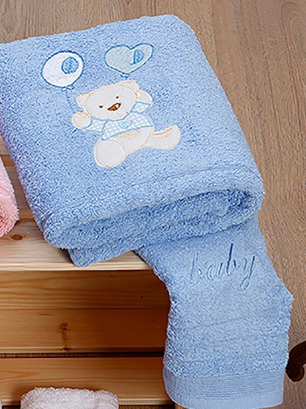 Σετ πετσέτες κεντητές kids Baloon 08 Blue - Blue