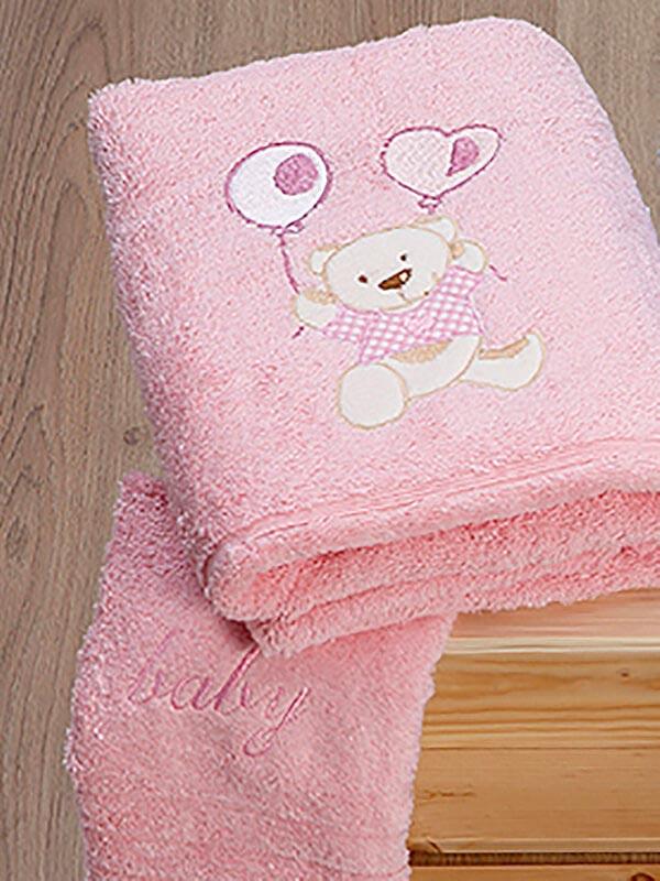 Σετ πετσέτες κεντητές kids Baloon 08 Pink - Pink