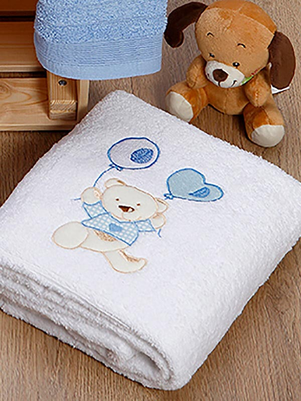 Σετ πετσέτες κεντητές kids Baloon 08 White - Blue