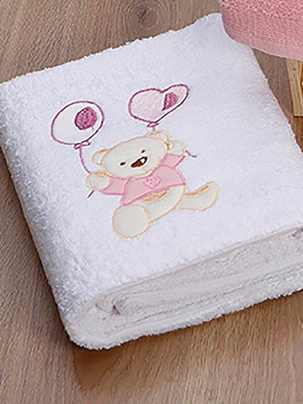 Σετ πετσέτες κεντητές kids Baloon 08 White - Pink
