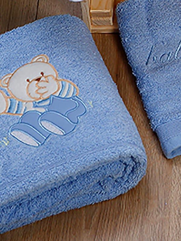 Σετ πετσέτες κεντητές Bear 04 Blue - Blue
