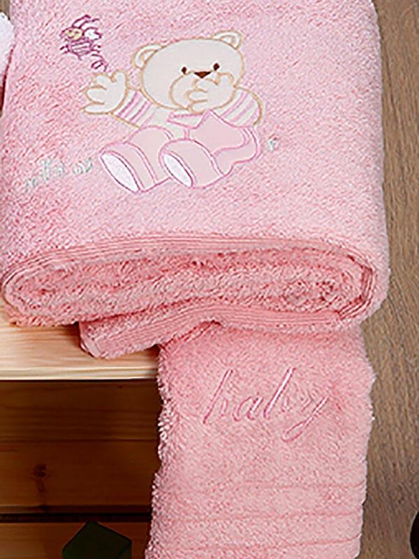 Σετ πετσέτες κεντητές Bear 04 Pink - Pink
