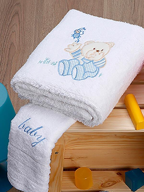 Σετ πετσέτες κεντητές Bear 04 White - Blue