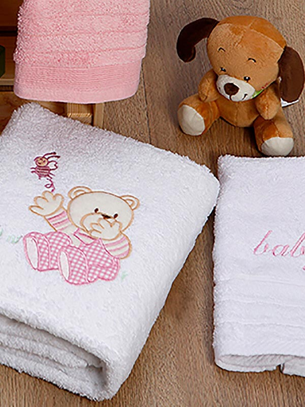 Σετ πετσέτες κεντητές Bear 04 White - Pink
