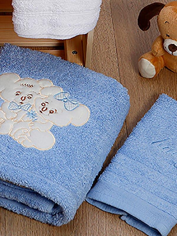 Σετ πετσέτες κεντητές Couple 06 Blue - Blue