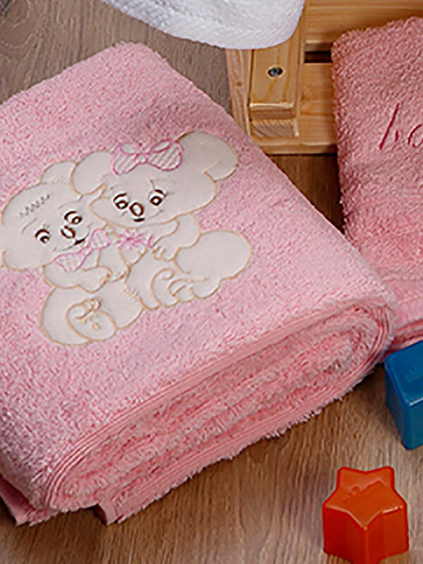Σετ πετσέτες κεντητές Couple 06 Pink - Pink