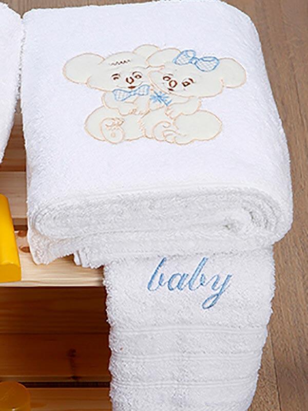 Σετ πετσέτες κεντητές Couple 06 White - Blue