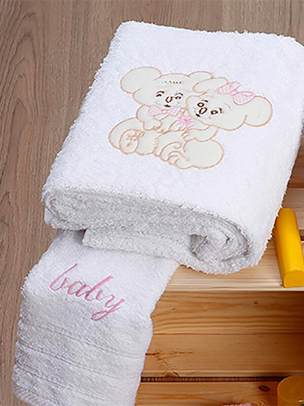 Σετ πετσέτες κεντητές Couple 06 White - Pink