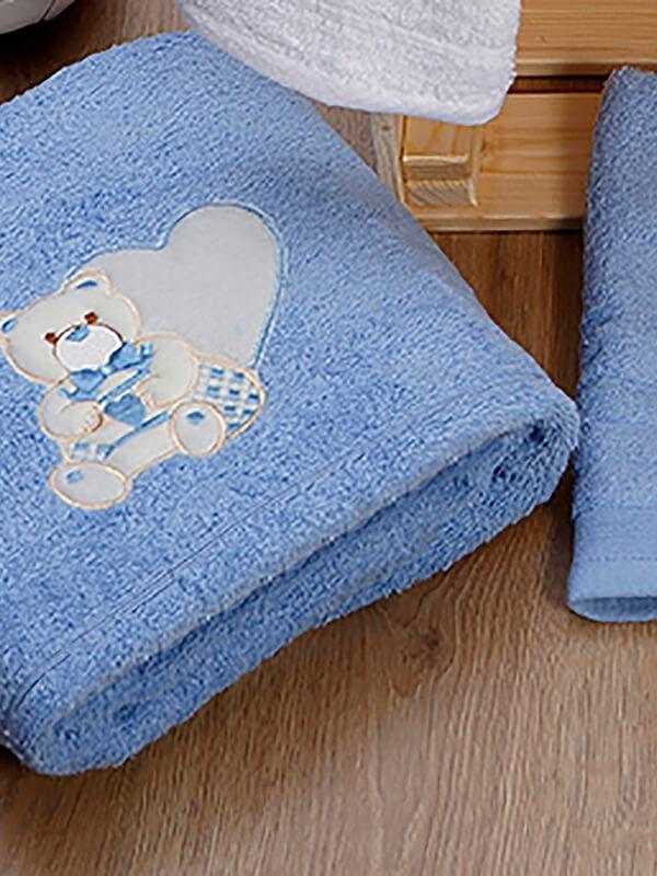Σετ πετσέτες κεντητές kids Heart 10 Blue - Blue