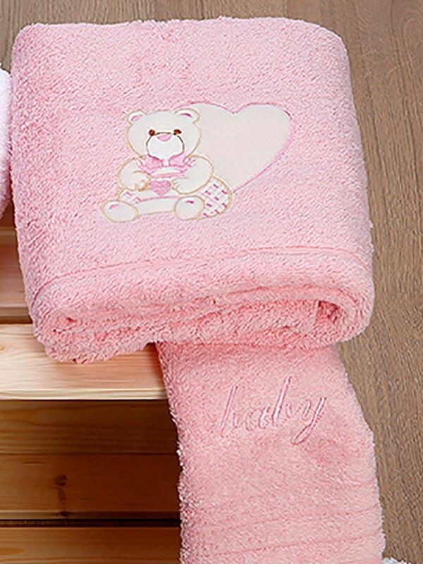 Σετ πετσέτες κεντητές kids Heart 10 Pink - Pink