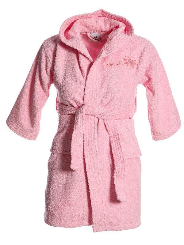 Mπουρνούζι κεντητό βρεφικό Pink