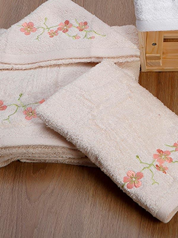 Σετ πετσέτες κεντητές 22 Ecru