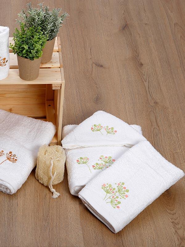 Σετ πετσέτες κεντητές 24 Ecru